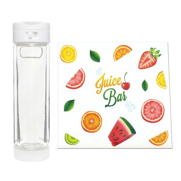 Glasstic │ 安全防護玻璃水瓶 經典小LO款(白_水果圖卡) 470 ml