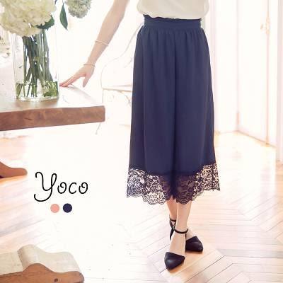 東京著衣【YOCO】法式典雅蕾絲拼接寬褲-S.M.L(6025393)