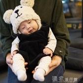 嬰兒帽爆款秋冬韓國兒童帽子雙球小熊護耳針織帽嬰兒寶寶毛線帽 『獨家』流行館