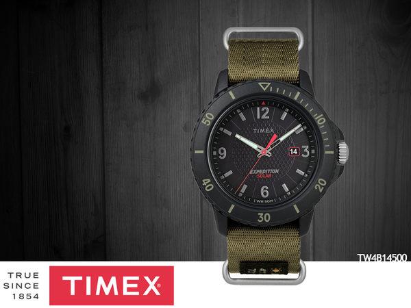 【時間道】TIMEX天美時 遠征系列太陽能腕錶– 黑面黑殼軍綠帆布帶(TW4B14500)免運費