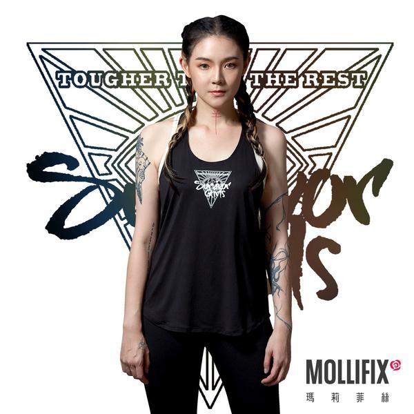 【歐陽靖聯名】Mollifix 瑪莉菲絲 Survivor Girls 強大意志T字吊帶運動背心 (黑)