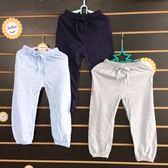 ☆棒棒糖童裝☆(E83322)夏男童女童鬆緊腰素面縮口防蚊褲薄長褲  5-23 深藍;淺藍;灰綠