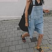 背帶牛仔褲女時尚洋裝寬鬆大碼顯瘦連體褲短褲【繁星小鎮】