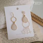 現貨◆PUFII-耳環 正韓珍珠水滴形不對稱垂墜耳環-0323 春【CP18199】