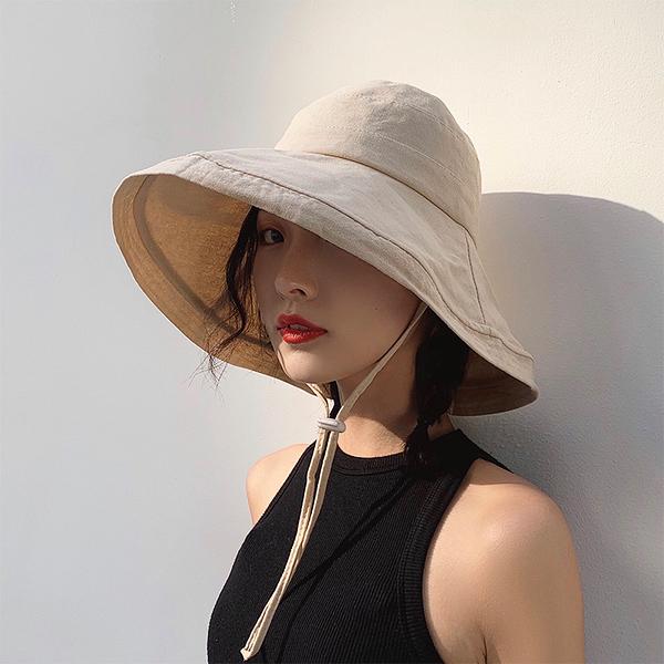 遮陽帽 帽子夏季網紅韓版百搭日系漁夫帽女海邊出游遮陽帽遮臉大帽檐防曬
