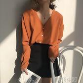 秋季韓版女裝復古chicV領雪紡衫單排扣上衣寬鬆百搭長袖防曬襯衫 初語生活館