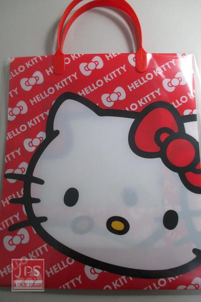 Hello Kitty 凱蒂貓 PP壓紋手提袋 手提袋 A4 紅色 KRT-963541