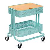 樂嫚妮 工藝風復古木板推車桌-藍雕花藍