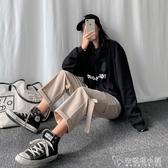 直筒工裝褲女高腰顯瘦垂感寬鬆春夏韓版學生鹽系ins潮運動褲 安妮塔小鋪
