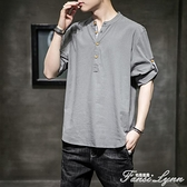 亞麻短袖男T恤夏季中國風棉麻五分袖上衣寬鬆胖子唐裝純色打底衫 范思蓮恩