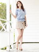 春夏7折[H2O]附腰帶風衣風格不對稱顯瘦短褲 - 黑/卡其/淺藍色 #9678011