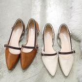 平底涼鞋 鞋子女夏百搭正韓包頭粗跟平跟羅馬鞋平底中空仙女涼鞋女 蒂小屋服飾  來襲