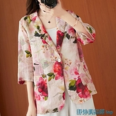 亞麻西裝外套 文藝減齡花朵印花棉麻小西裝一粒扣雙口袋寬松亞麻七分袖西服外套 快速出貨