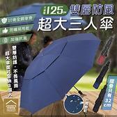 超大雙層折疊防風黑膠三人傘 傘下直徑125cm 晴雨傘 防曬抗UV傘【BE0403】《約翰家庭百貨