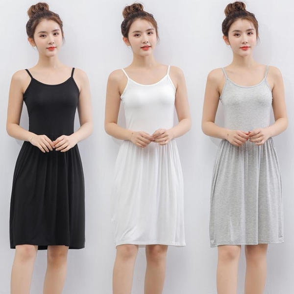 【免運】新品夏季莫代爾拼接吊帶裙女大碼內搭中長款背心裙修身顯瘦連身裙