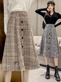 格子半身裙女中長款傘裙2021春款女裝大擺長裙高腰顯瘦A字裙裙子 韓國時尚週