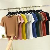 莫代爾短袖t恤女2021春夏百搭純色圓領內搭韓版寬鬆顯瘦修身上衣 伊蘿 99免運