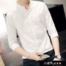 襯衫 七分袖襯衫薄款韓版修身潮流中袖休閒發型師白色短袖襯【快速出貨】