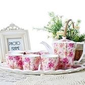 下午茶茶具組合含咖啡杯+茶壺-6人高檔描金歐式陶瓷茶具4色69g28[時尚巴黎]