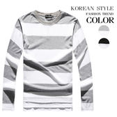 寬版條紋下擺開衩設計長袖上衣(二色)【J5425】