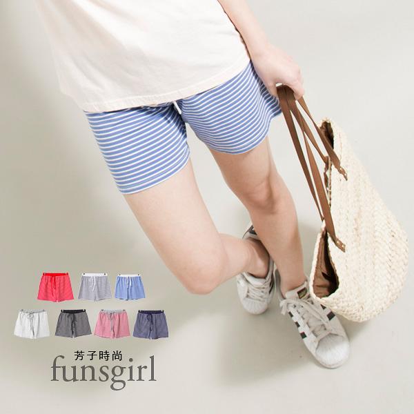 鬆緊抽繩運動休閒細橫條紋短褲-7色~funsgirl芳子時尚