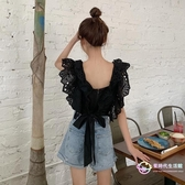 氣質 洋裝性感短洋裝襯衫女2020新款不規則黑色設計感韓版蝴蝶結上衣女 【星時代生活館】