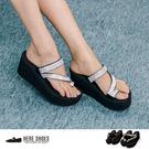 [Here Shoes]MIT台灣製 水鑽拼貼 仿麂皮 高粗跟厚底7cm 套指 高跟拖鞋 2色─KNW329