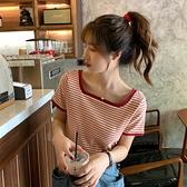 短袖T恤 網紅打底衫女ins超火條紋方領漏鎖骨上衣夏季2021新款洋氣T恤衫潮