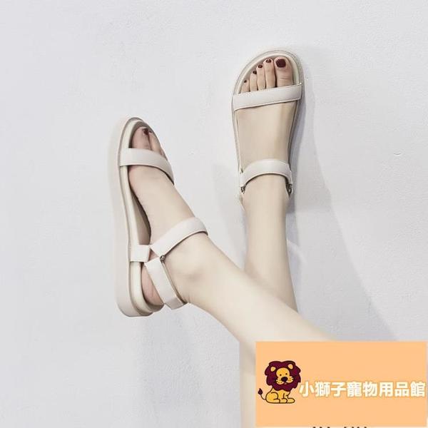 厚底時尚羅馬鞋潮涼鞋女夏百搭仙女風平底鞋【小狮子】