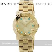 【南紡購物中心】MARC BY MARC JACOBS國際精品色彩潮流時尚腕錶-金/彩鑽/36mm MBM3215