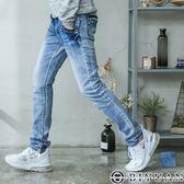 【OBIYUAN】牛仔褲 口袋皮革拼接造型 水洗刷色 小直筒 單寧長褲 共1色【P2150】