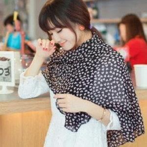 ♥巨安網購♥【KTW20】新款桃心小愛心圍巾 黑底粉心圖案披肩圍巾