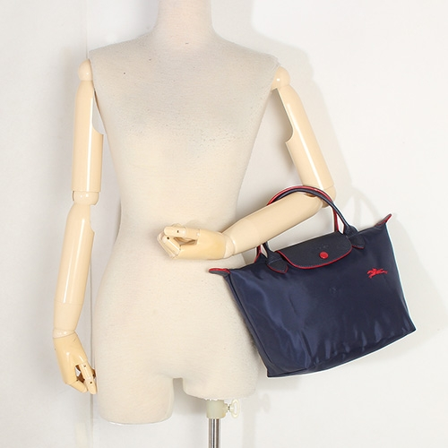 Longchamp 1621 LE PLIAGE 奔馬刺繡短提把小型尼龍摺疊水餃包(海軍藍)480206-556