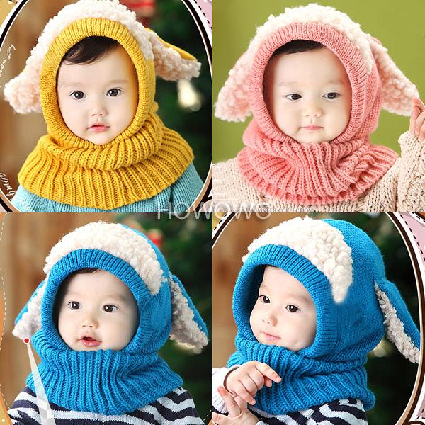 超低折扣NG商品~寶寶護耳毛線帽子 大耳朵嬰兒針織圍脖 (3-36個月) CA605 好娃娃