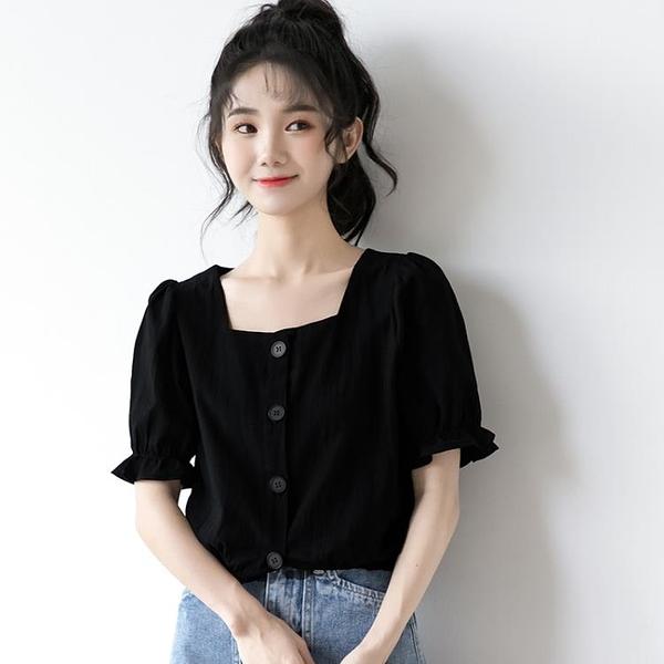 短袖襯衫 新款法式泡泡袖襯衫女夏黑色短袖襯衣寬鬆學生短款方領上衣-Ballet朵朵