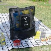 野炊包 戶外收納手提單肩保溫包雙層野餐野炊食材包網格包袋 LC2913 【VIKI菈菈】