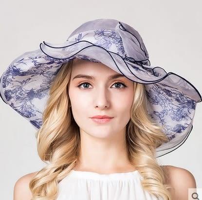 百搭防曬真絲遮陽帽防紫外線出遊太陽帽  -charle00555