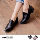 [Here Shoes]2色 中性率性皮革金屬 粗低跟牛津紳士 ◆MIT台灣製─AA615