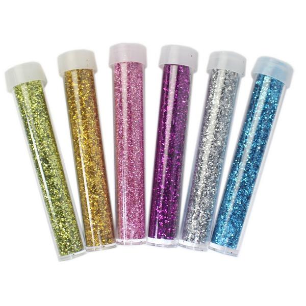 6色入 金蔥粉 亮粉 DIY彩繪亮亮粉 /一包6色入(促30) 長筒罐 彩色亮粉手工DIY 金粉-AA5200