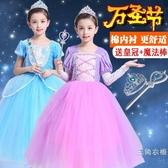 萬圣節兒童服裝女童長發灰姑娘公主裙長袖禮服女巫化妝舞會