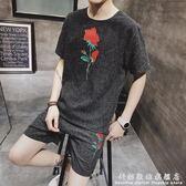 男士運動套裝夏季新款韓版修身花短袖兩件套潮流帥氣 科炫數位