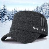 虧本促銷-卡車帽帽子男士平頂帽秋冬季戶外保暖護耳帽中老年加厚帽休閒棒球帽