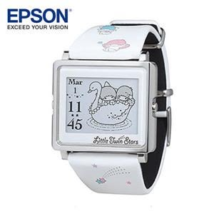 EPSON Kikilala Rainbow 雙星仙子銀色手錶 日本精工設計 輕巧薄型外觀時尚