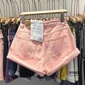 高腰牛仔短褲女顯瘦大碼女裝粉色褲子夏薄款a字熱褲【聚物優品】