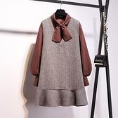 氣質優雅小千鳥格套裝(上衣+背心洋)-中大尺碼 獨具衣格 J3387