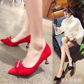 婚鞋女2019春季新款新娘鞋伴娘紅色高跟鞋細跟尖頭淺口方扣單鞋子 DR14153【男人與流行】