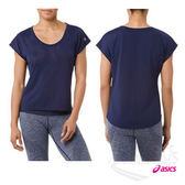 亞瑟士ASICS 女短袖T恤(深藍) 寬版設計 方便舒適 瑜珈上衣 151391-8052【 胖媛的店 】