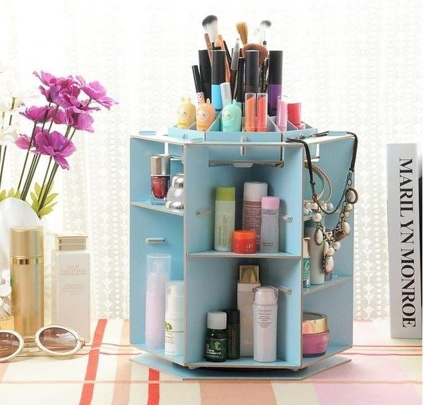 多用途收納盒 桌面化妝品收納 韓版木製360度DIY拼裝化妝盒 收納盒 DIY化妝盒【R002】慢思行