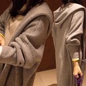 大衣 超長款過膝風衣外套女2019新款春秋天連帽開衫外衣服正韓學生上衣 點點服飾