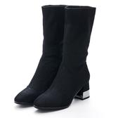G.Ms. 2WAY反折閃亮彈性布中跟靴-黑色